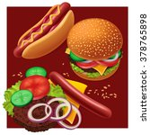 fast food. hot dog and... | Shutterstock .eps vector #378765898