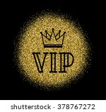 gold vip logo in line style... | Shutterstock .eps vector #378767272