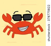 Funny Cartoon Crab With...