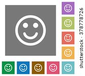 smiley flat icon set on color...