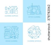 vector trendy flat cleaning... | Shutterstock .eps vector #378782062