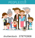 big family family and children  ... | Shutterstock .eps vector #378792808