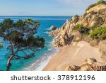 idyllic lonely beach with... | Shutterstock . vector #378912196