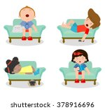 Set Of Kid Sleeping On Sofa At...