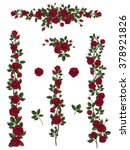 branches climbing red rose... | Shutterstock .eps vector #378921826