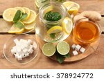 mint tea with honey and lemon | Shutterstock . vector #378924772