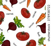 set of fresh vegetables  vector ... | Shutterstock .eps vector #378938722