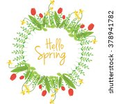 spring floral vector wreath    Shutterstock .eps vector #378941782