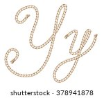 rope. hand draw alphabet with... | Shutterstock .eps vector #378941878