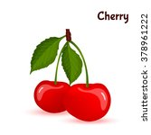 red cherries with leaves vector | Shutterstock .eps vector #378961222