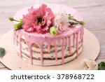 carrot cake with pink glaze ... | Shutterstock . vector #378968722