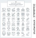 set of modern outline icons of... | Shutterstock . vector #378989932