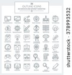 set of modern outline icons of... | Shutterstock .eps vector #378993532