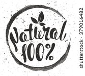 logo 100  natural with leaves ... | Shutterstock .eps vector #379016482