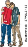 two teenage friends standing... | Shutterstock .eps vector #379018468