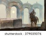 Lonely Horseman Riding Near...