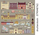 adorable United Kingdom attractions collection in flat design