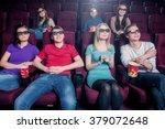 people in the cinema wearing 3d ... | Shutterstock . vector #379072648