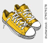 yellow sneakers   by hand the... | Shutterstock .eps vector #379079278