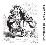 A reapers Dance in Abruzzo, by Bartolomeo Pinelli, vintage engraved illustration. Magasin Pittoresque 1876.