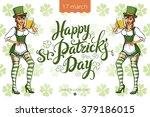 pretty leprechaun girl with... | Shutterstock .eps vector #379186015
