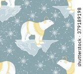 arctic space pattern with bear... | Shutterstock .eps vector #379189198