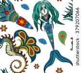 beautiful mermaid with tail in...   Shutterstock . vector #379207066