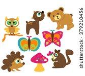 woodland animals vector. | Shutterstock .eps vector #379210456