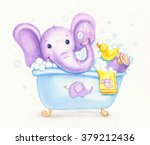 bathing baby elephant  ... | Shutterstock . vector #379212436
