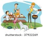 Family Outdoor Barbecue - Vector - stock vector