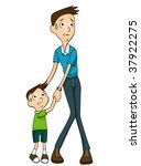 Scared Child and Adult - Vector - stock vector
