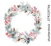 wreath with pine branches and... | Shutterstock . vector #379229746