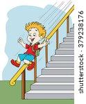 boy sliding down the banister   Shutterstock .eps vector #379238176