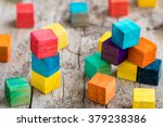 colorful wooden building blocks.... | Shutterstock . vector #379238386