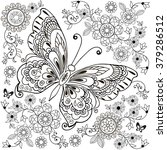 Stock vector decorative butterfly with floral ornament for anti stresa coloring 379286512