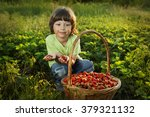 cheerful boy with basket of... | Shutterstock . vector #379321132
