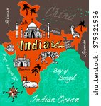 illustrated map of india | Shutterstock .eps vector #379321936