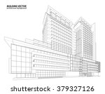 perspective 3d wireframe of... | Shutterstock .eps vector #379327126