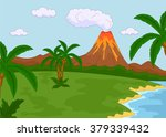 volcanic eruption. illustration ... | Shutterstock . vector #379339432