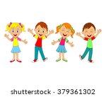 boys and girls smiling... | Shutterstock .eps vector #379361302