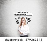 a young pretty businesswoman... | Shutterstock . vector #379361845