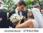 beautiful bride groom wears a... | Shutterstock . vector #379361986