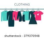 Stock vector shirts sweatshirt jacket and dresses on hangers clothing illustration 379370548