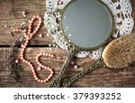 vintage set   hand mirror with... | Shutterstock . vector #379393252