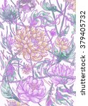 floral pattern with peony.... | Shutterstock .eps vector #379405732