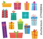 set of colorful gift boxes on... | Shutterstock .eps vector #379408846