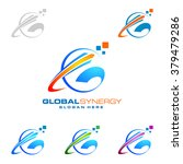 global logo with ring sphere...