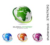 abstract 3d global logo with... | Shutterstock .eps vector #379479292