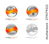 abstract 3d global logo with... | Shutterstock .eps vector #379479322