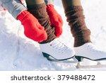 girl in dress skates mittens... | Shutterstock . vector #379488472